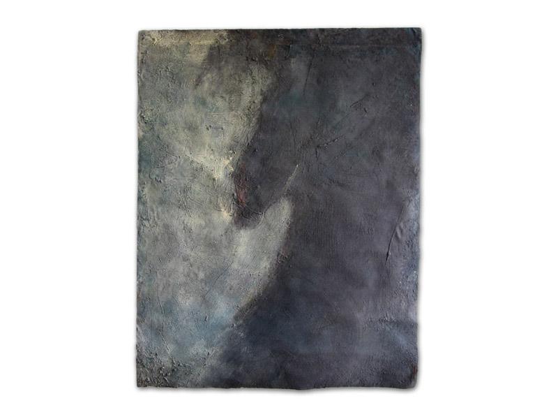 nu noir - émulsion huile/acrylique/pigment & pierre calcaire/toile libre - env. 200/150 cm (Collection particulière)