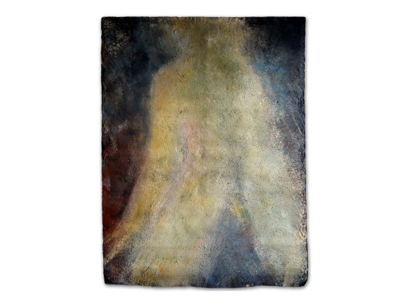 nu jaune - émulsion huile/acrylique/pigment & pierre calcaire/toile libre - env. 200/150 cm