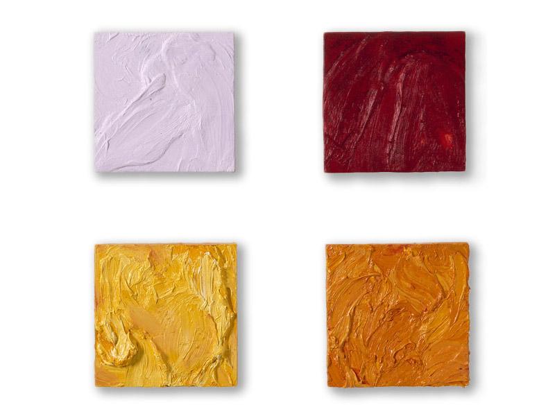 carrés 3, 4, 5, 6 - huile/bois - 4 x 25/25 cm