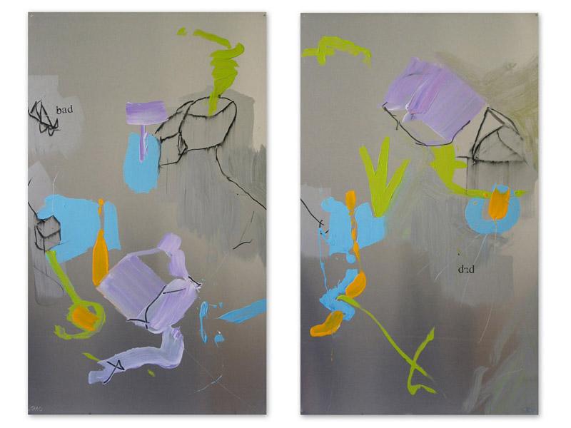 bad dad - acrylique/aluminium - diptyque - 2 x 100/60cm