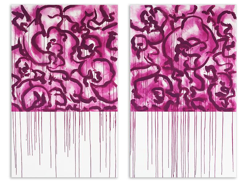 appariement 1 - acrylique/toile - diptyque - 2 X 161,8/100 cm