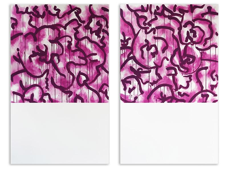 appariement 2 - acrylique/toile - diptyque - 2 X 161,8/100 cm