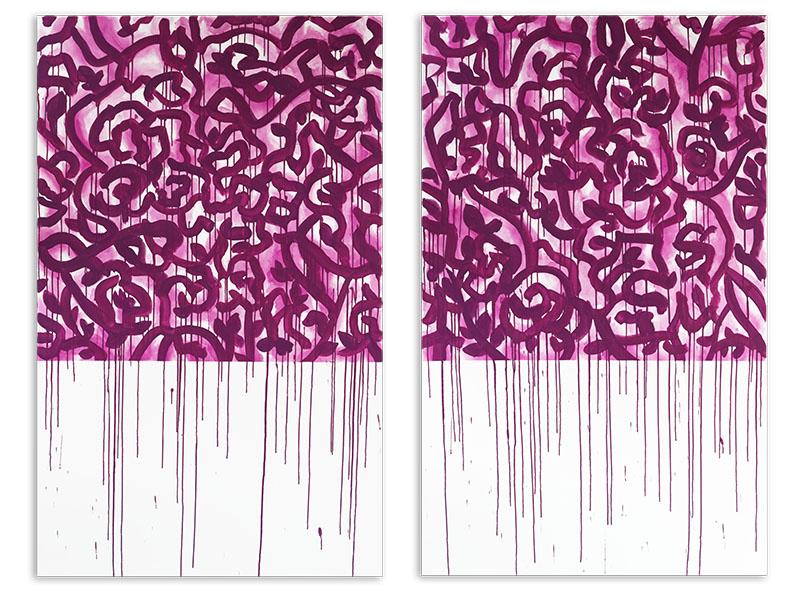 appariement 3 - acrylique/toile - diptyque - 2 X 161,8/100 cm