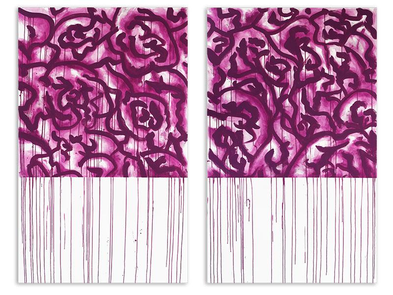 appariement 5 - acrylique/toile - diptyque - 2 X 161,8/100 cm