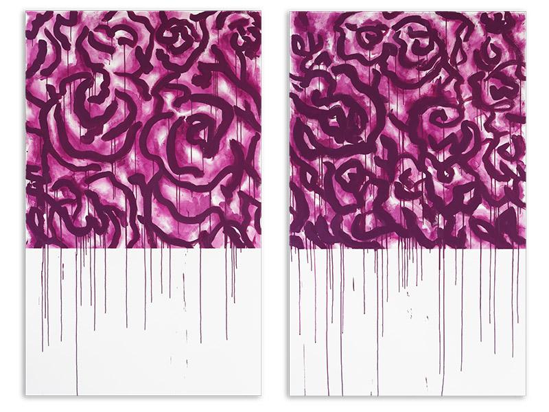 appariement 4 - acrylique/toile - diptyque - 2 X 161,8/100 cm